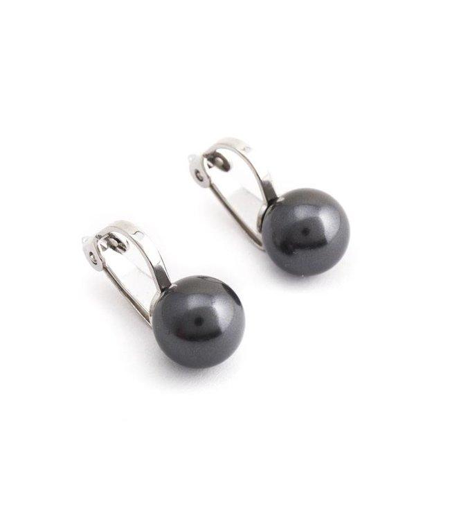 Krikor Donker grijze parel oorclips 8 mm black pearl