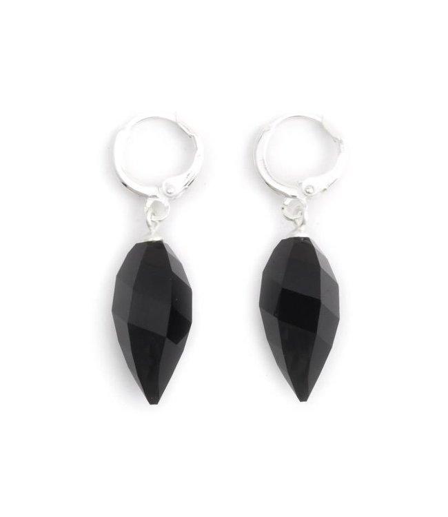 Krikor Creool oorbellen met zwart kristal