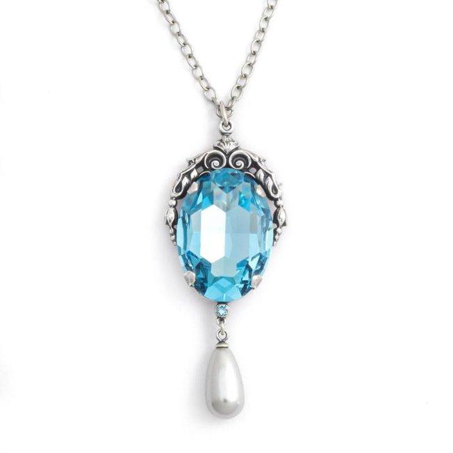 Blauw collier met art nouveau stijl hanger