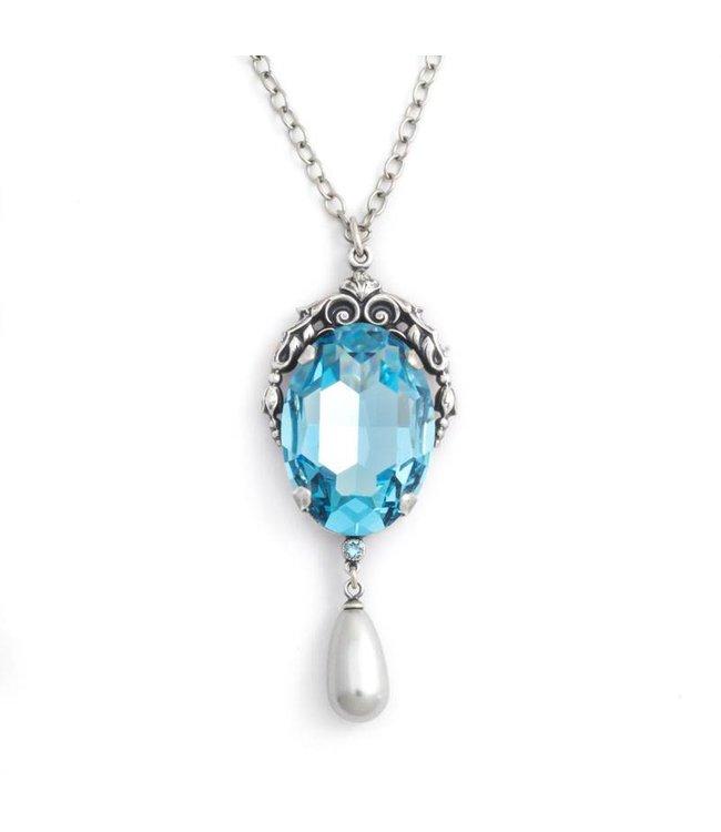 Krikor Blauw collier met art nouveau stijl hanger