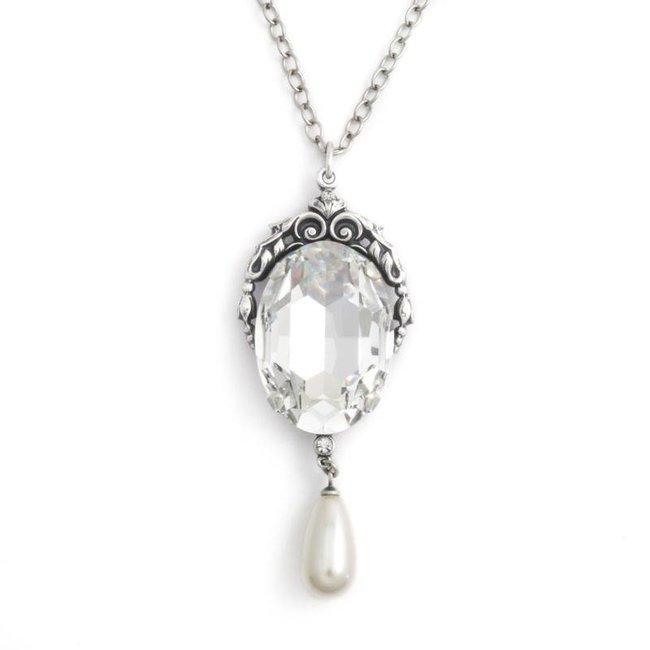 Collier met art nouveau stijl hanger in kristal