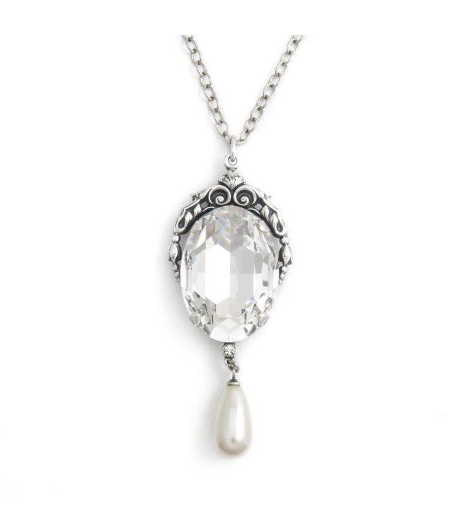 Krikor Collier met art nouveau stijl hanger in kristal