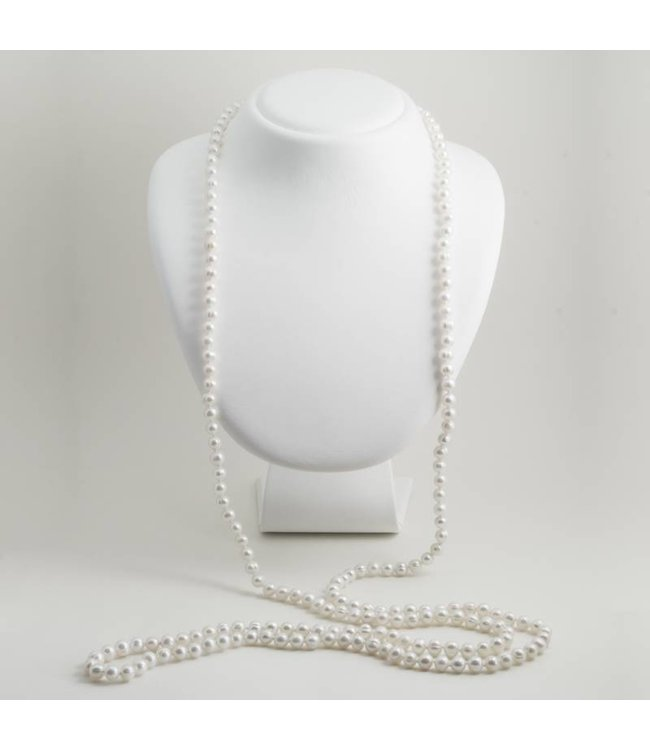 Aurora Patina Lange witte parel ketting van 150 cm