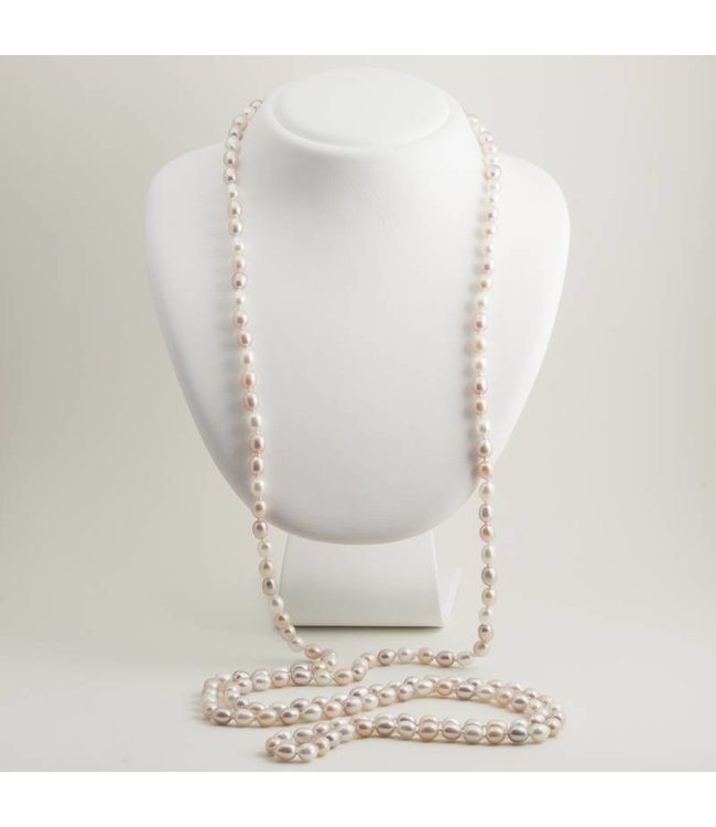 Aurora Patina Roze parel ketting 180 cm met ovale zoetwaterparels