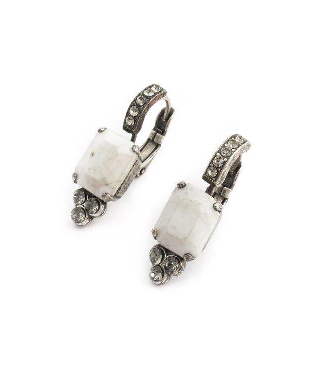 Mariana Witte oorbellen met steen en kristal