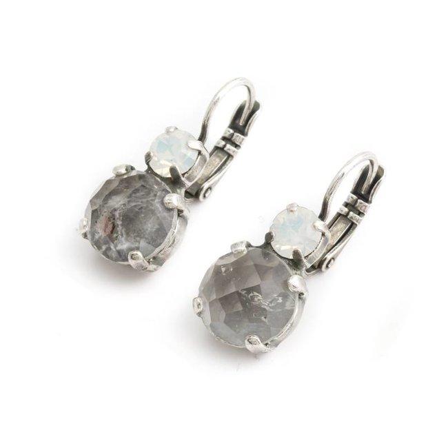 Grijs witte oorbellen met kwarts en kristal