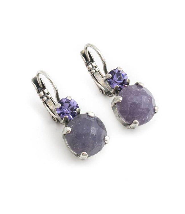Mariana Paarse oorbellen met amethist en kristal