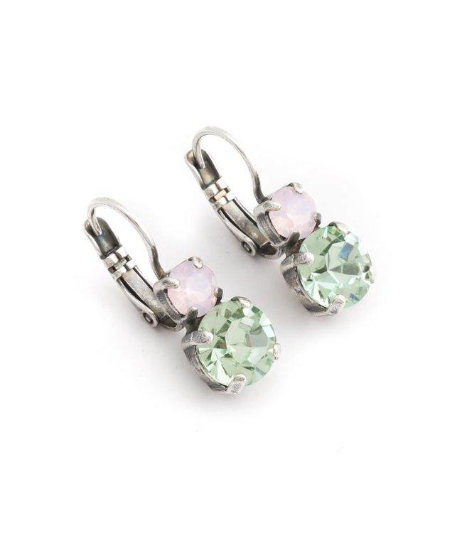Mariana Groen roze oorbellen met Swarovski kristal