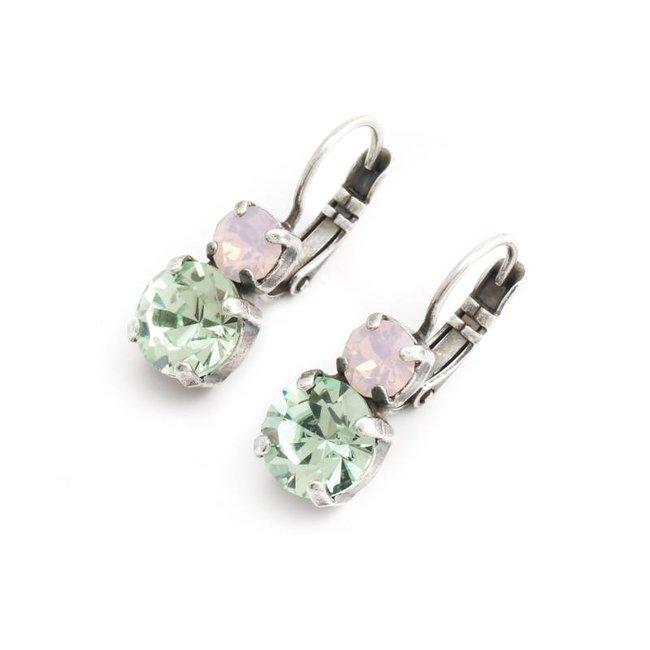 Groen roze oorbellen met Swarovski kristal