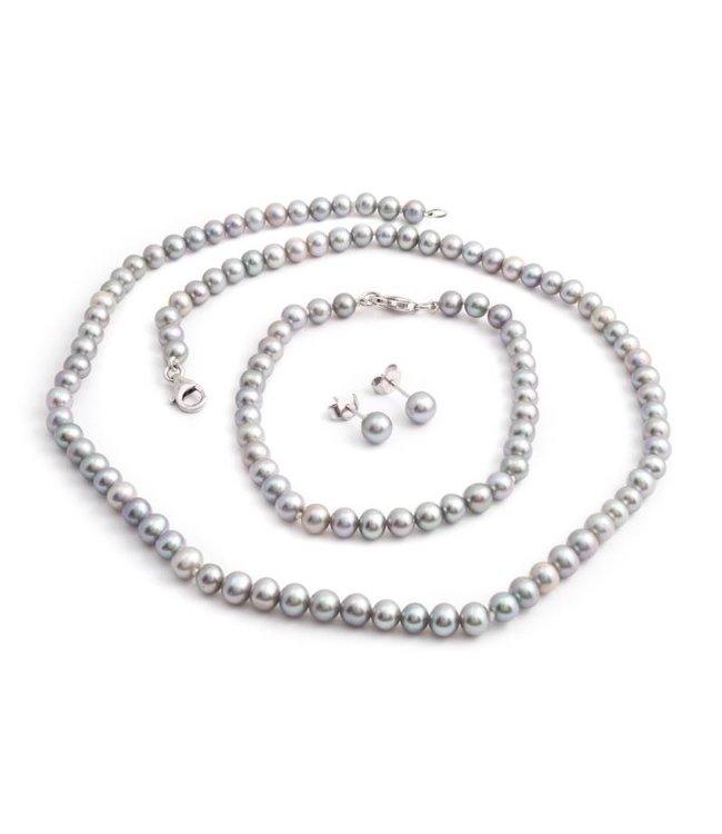 Aurora Patina Grijze parel sieraden set van zoetwaterparels