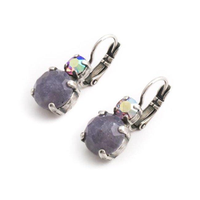 Paarse oorbellen met amethist en kristal
