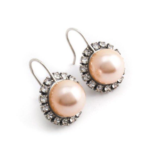 Perzik roze parel oorbellen met kristal