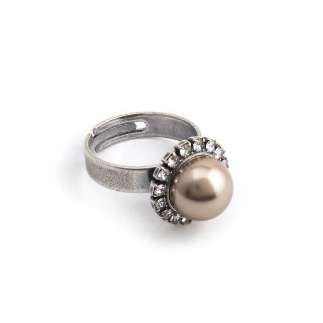 Krikor Licht bruine parel ring 10 mm