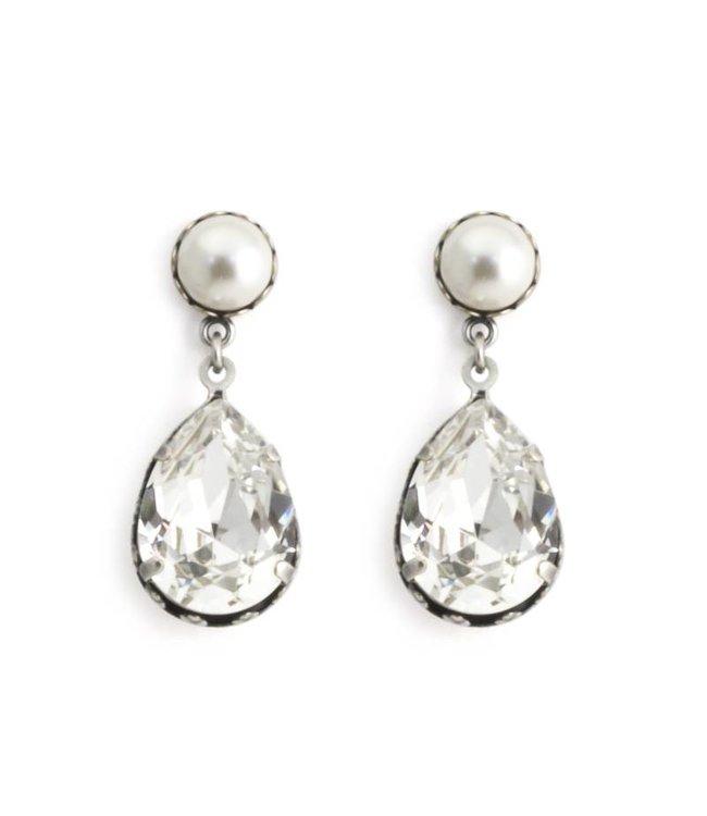 Krikor Heldere oorbellen met kristal en parel