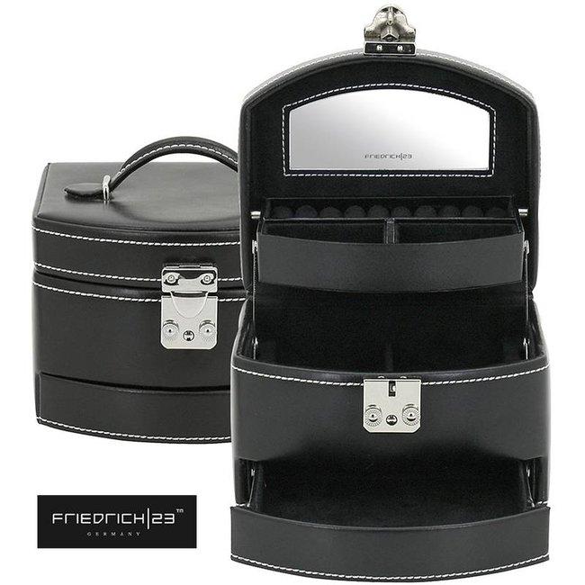 Sieradenkoffer London in zwart leer