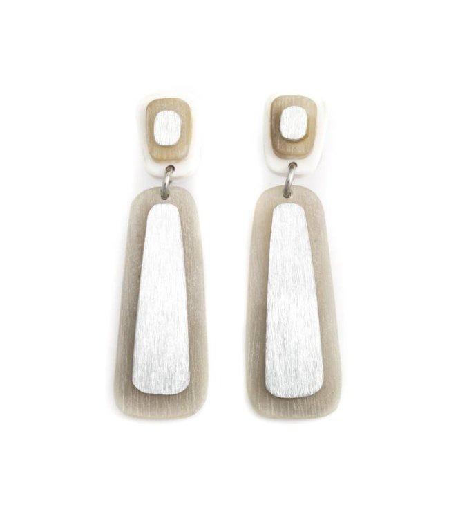Culture Mix Bruine oorbellen van hout en metaal