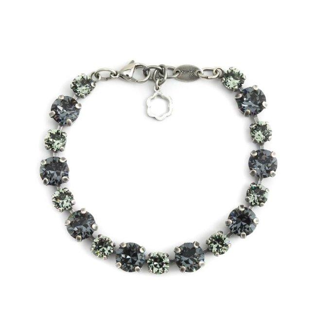 Zwart grijze armband met Swarovski kristallen