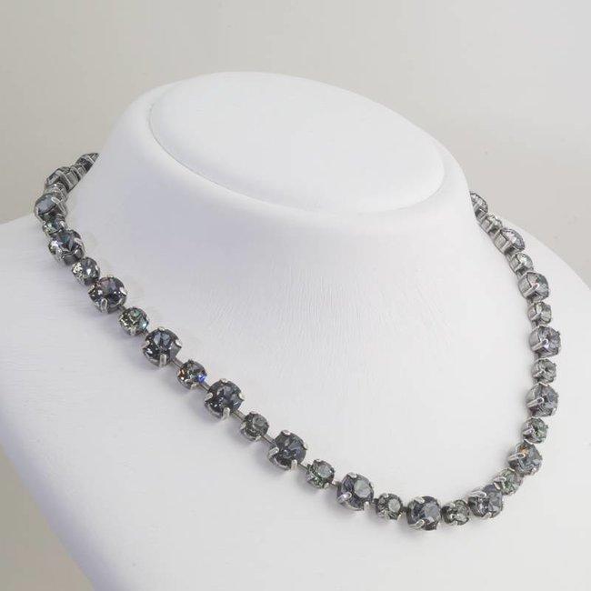 Zwart grijs collier met Swarovski kristallen