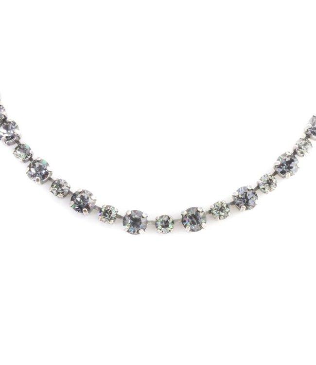 Krikor Zwart grijs collier met Swarovski kristallen