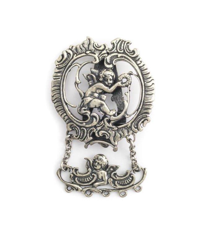 Aurora Patina Zilveren chatelaine gesp met cherubijntjes