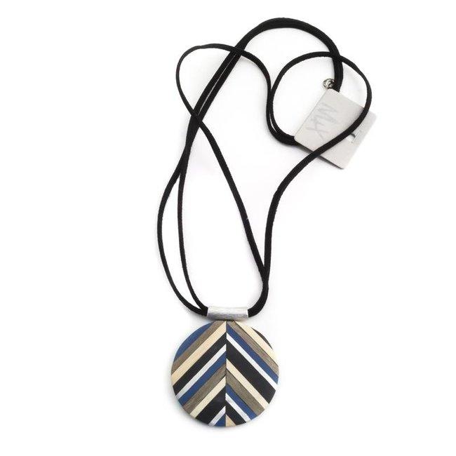 Ronde hanger hout in zilver, blauw, crème en zwart - Copy
