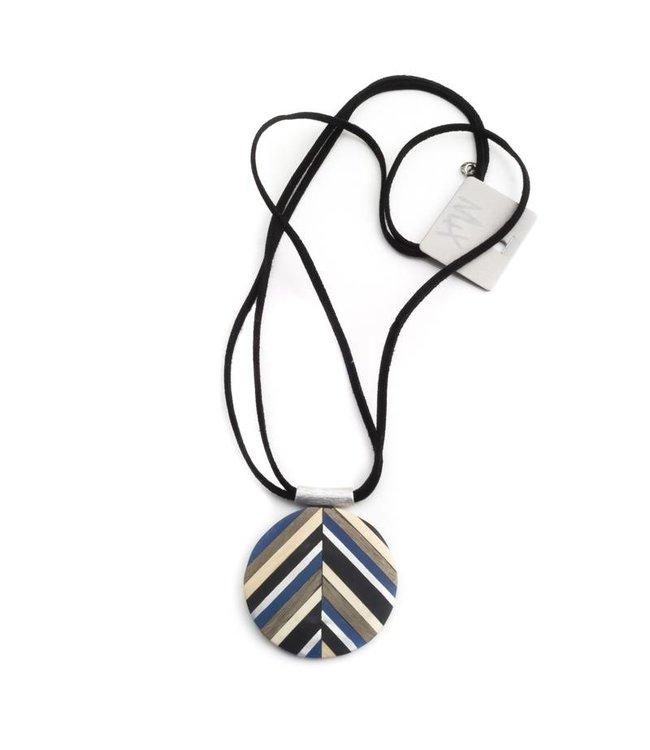 Culture Mix Ronde hanger hout in zilver, blauw, crème en zwart - Copy