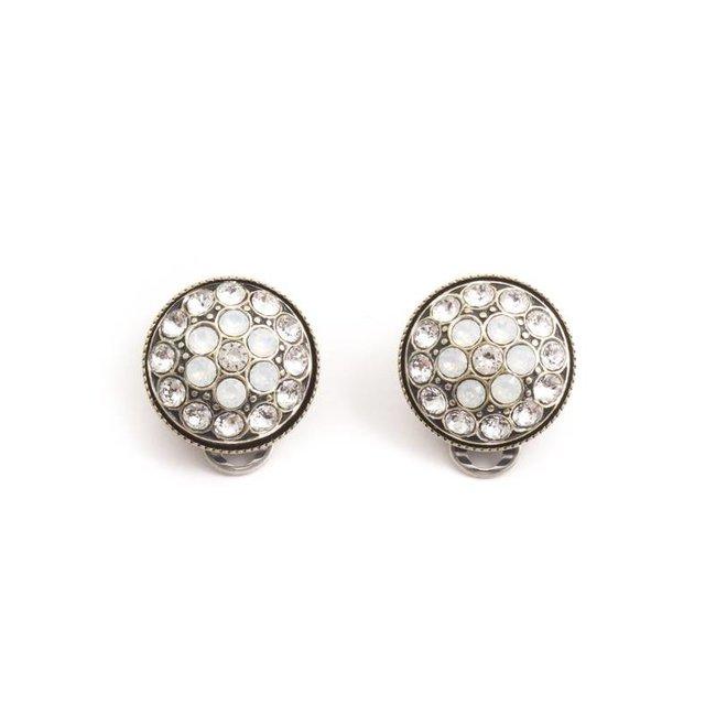 Witte oorclips met Swarovski kristallen