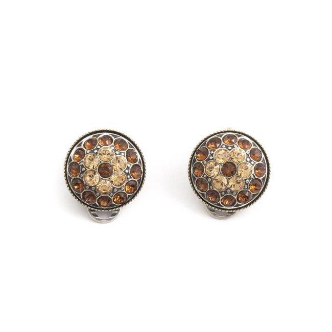 Bruine oorclips met Swarovski kristallen