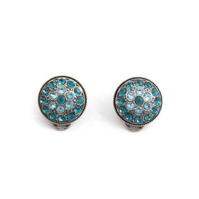 Turquoise oorclips met Swarovski kristallen