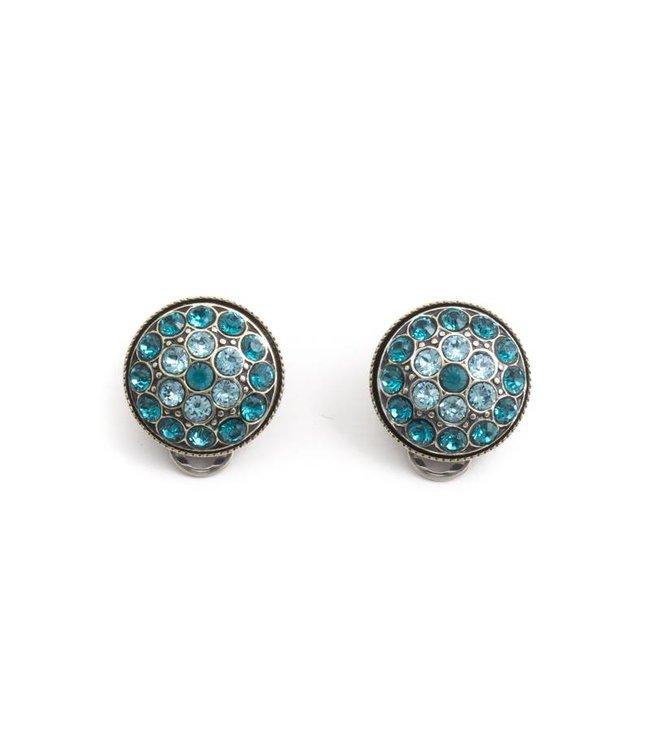 Krikor Turquoise oorclips met Swarovski kristallen