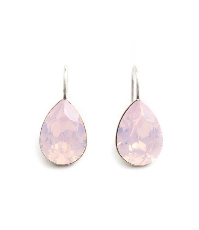 Krikor Druppel oorbellen met opaal roze Swarovski kristal