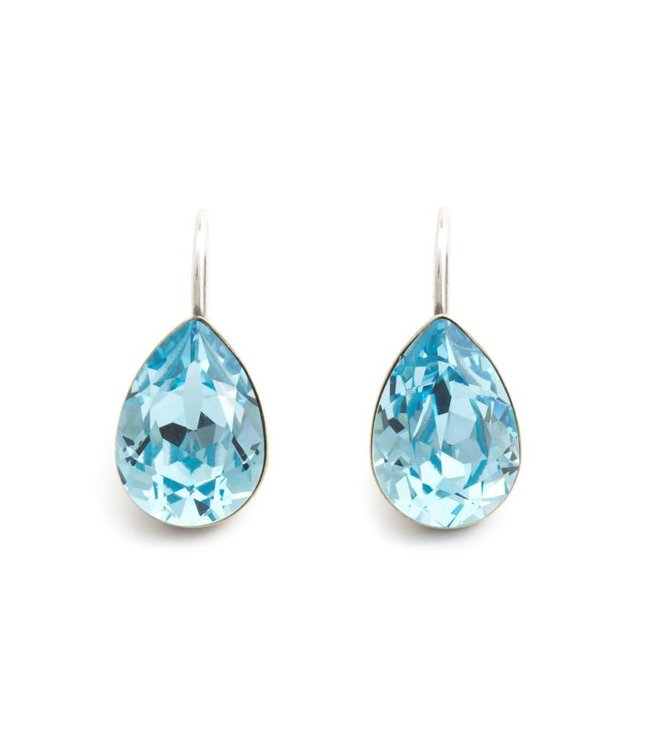 Krikor Druppel oorbellen met aquamarijn blauw Swarovski kristal