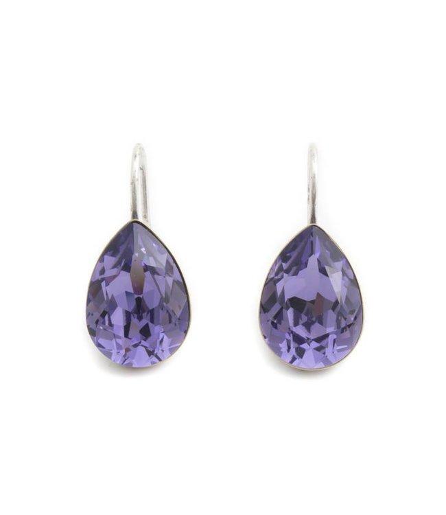 Krikor Druppel oorbellen met paars Swarovski kristal