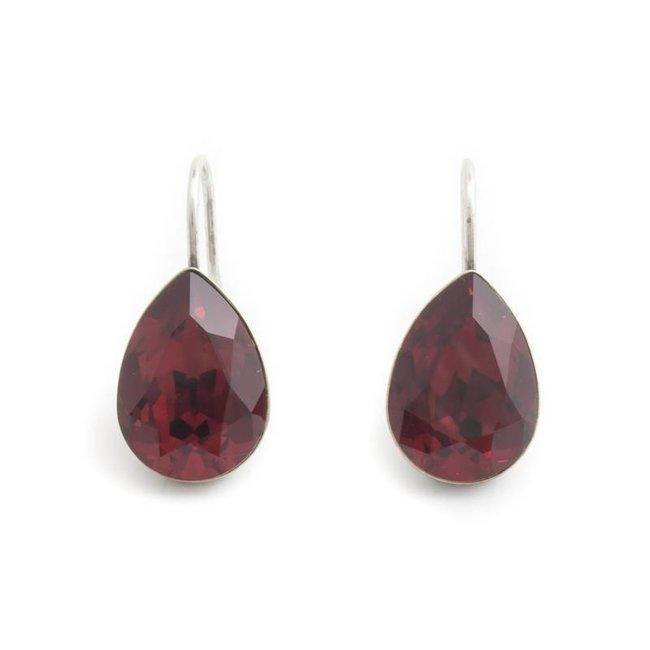 Druppel oorbellen met rood Swarovski kristal