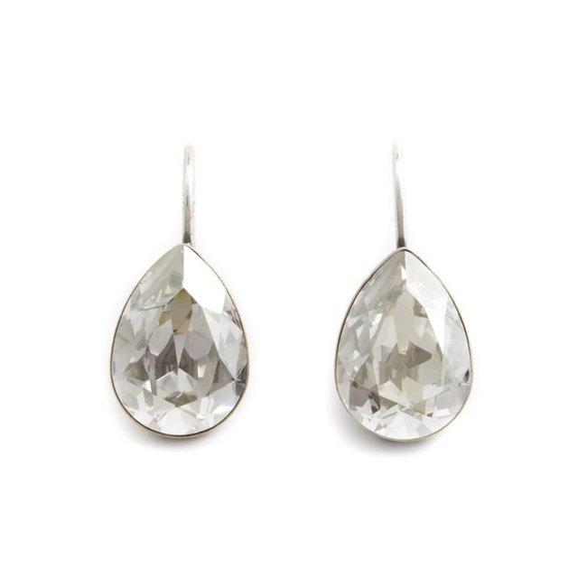 Druppel oorbellen met zilver grijs Swarovski kristal