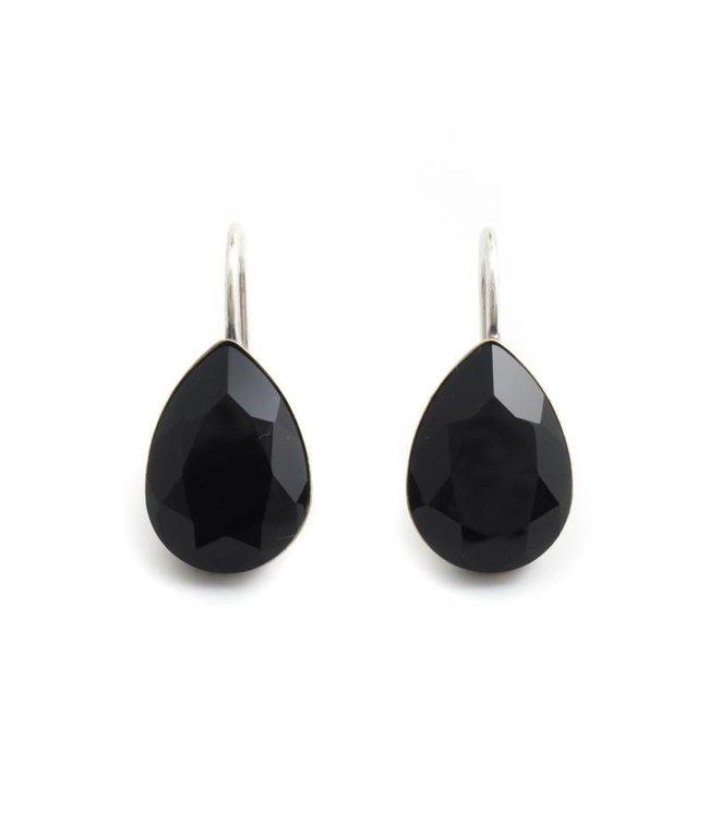 Krikor Druppel oorbellen met zwart Swarovski kristal