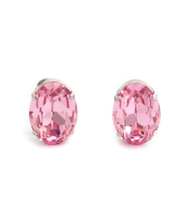 Krikor Licht roze oorclips met Swarovski kristal