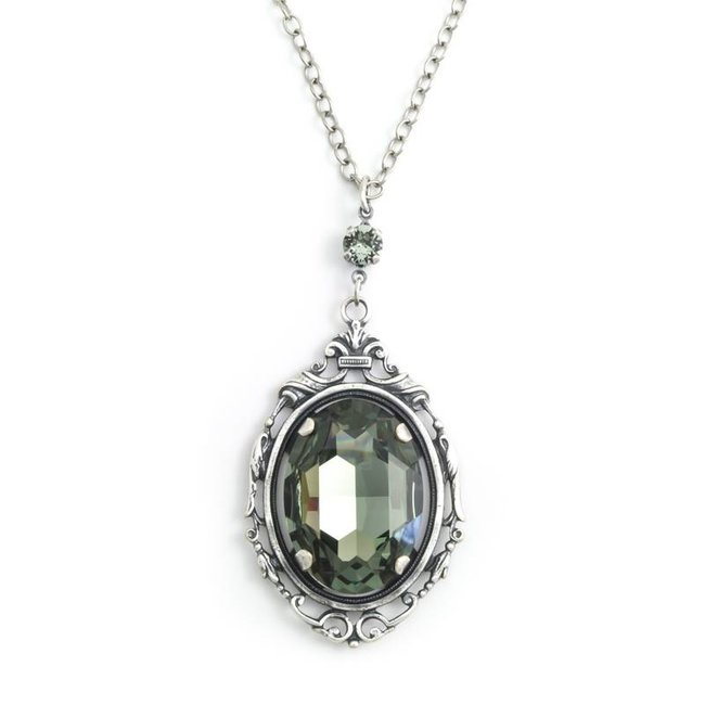 Grijs kristal collier met art nouveau stijl hanger