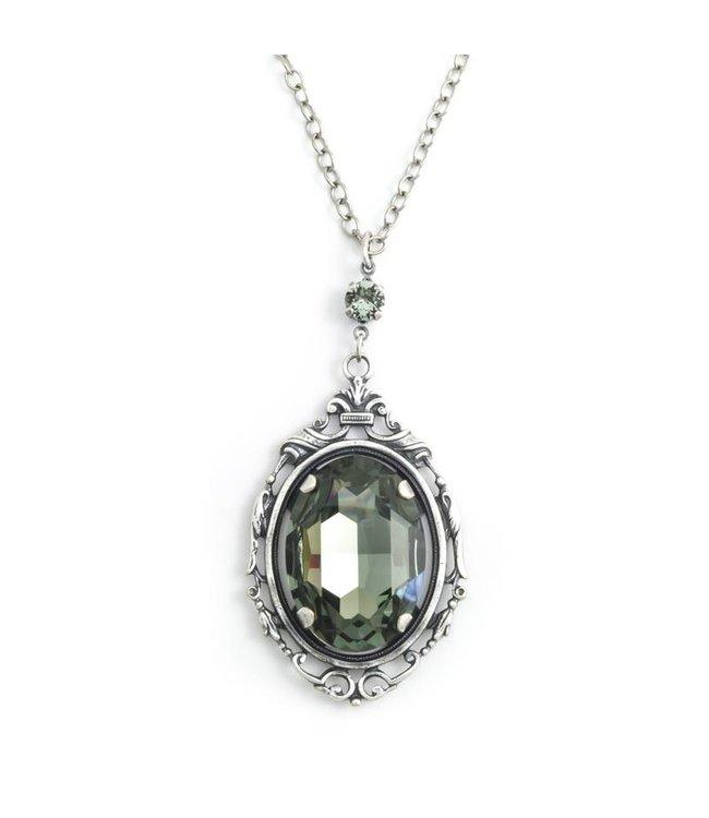 Krikor Grijs kristal collier met art nouveau stijl hanger