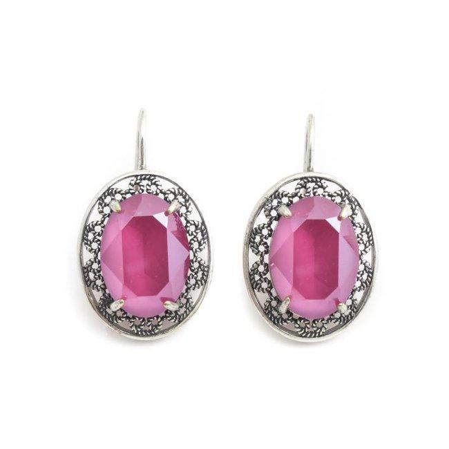 Krikor Kristal oorbellen roze ovaal