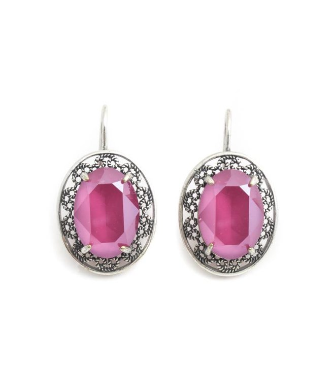 Krikor Ovale oorbellen met roze Swarovski kristal