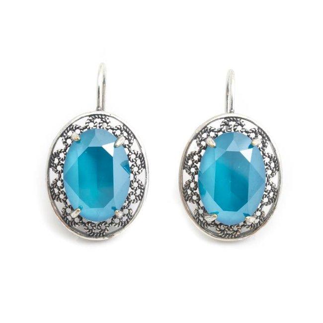 Ovale oorbellen met blauw Swarovski kristal