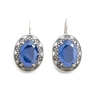 Krikor Kristal oorbellen blauw ovaal