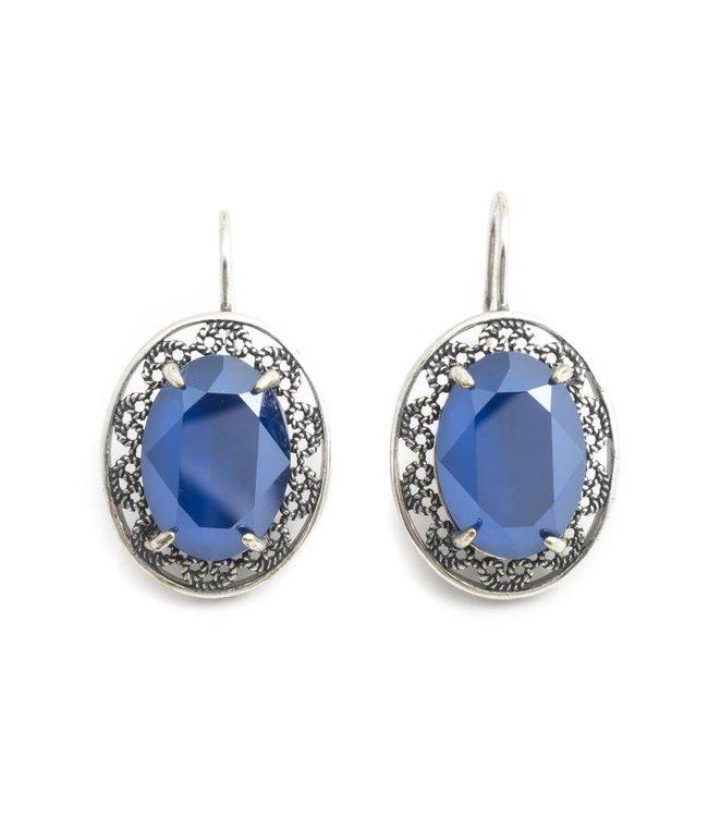 Krikor Ovale oorbellen met blauw Swarovski kristal