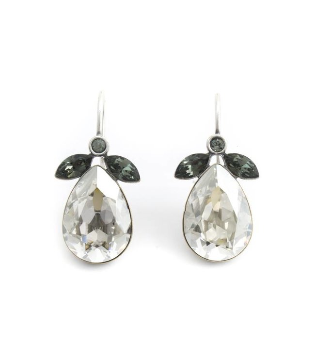 Krikor Druppel oorbellen met zilver grijs Swarovski kristal