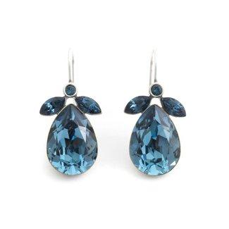 Krikor Druppel oorbellen denim blauw kristal