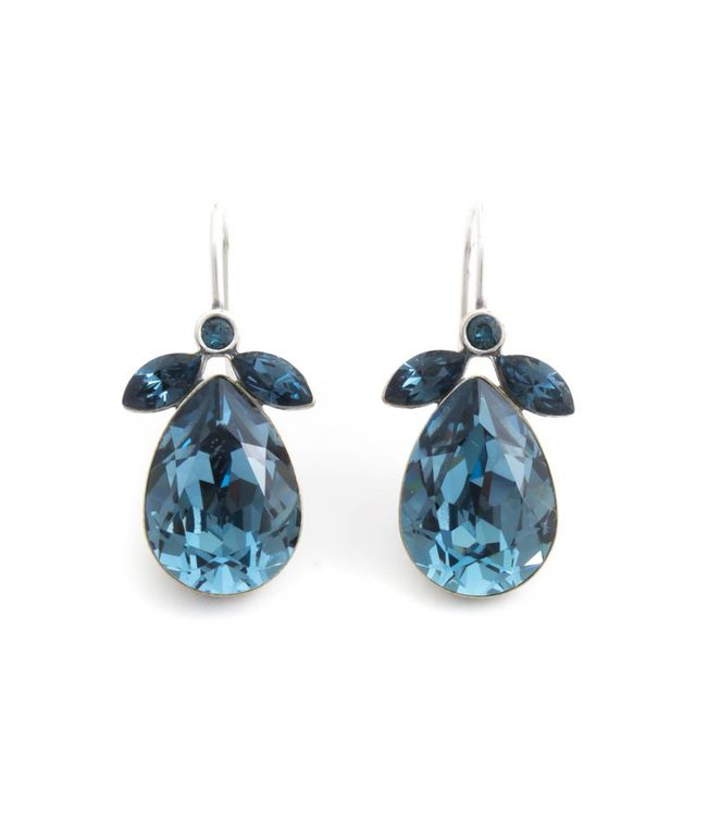 Krikor Druppel oorbellen met denim blauw Swarovski kristal