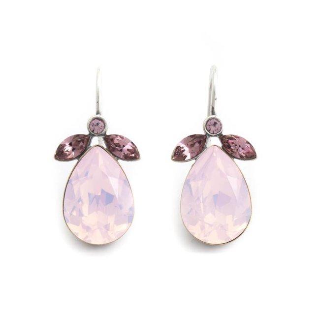 Druppel oorbellen met roze Swarovski kristal