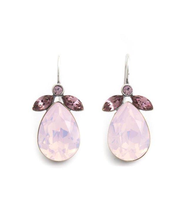 Krikor Druppel oorbellen met roze Swarovski kristal