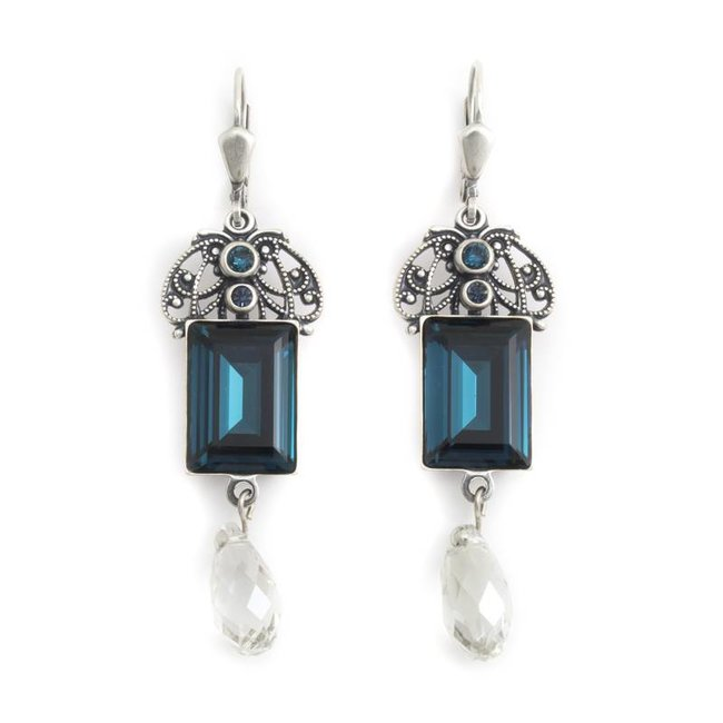 Krikor Blauwe oorbellen kristal